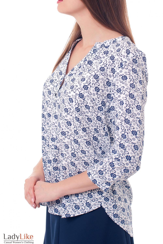 Купить блузку с планкой в синие ромашки Деловая женская одежда фото