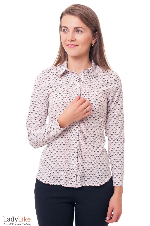 Блузка с защипами с розовым рисунком Деловая женская одежда фото