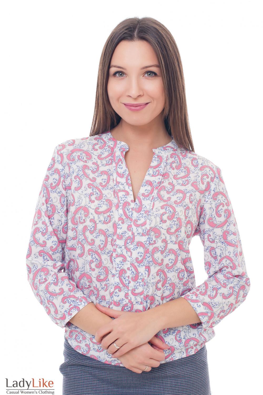Блузка в коралловый узор с резинками сбоку Деловая женская одежда фото
