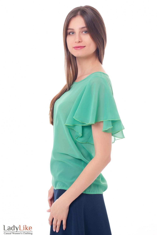 Купить блузку зеленую с крылышками Деловая женская одежда фото