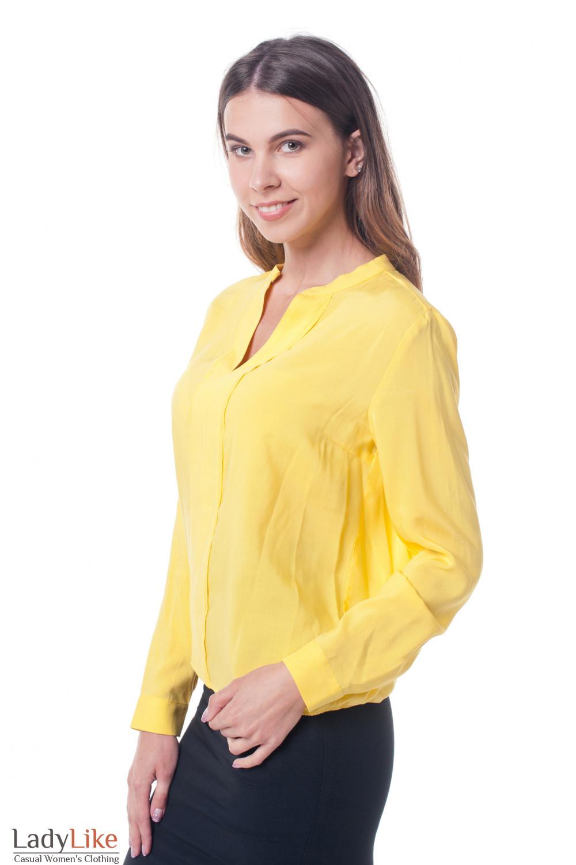 Купить блузку желтую с двойной планкой Деловая женская одежда фото