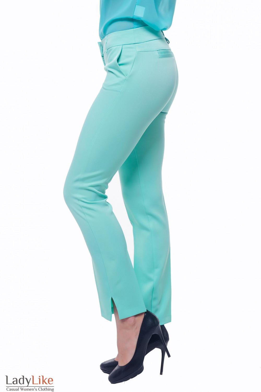 Купить брюки бирюзовые с двойной кокеткой сзади Деловая женская одежда