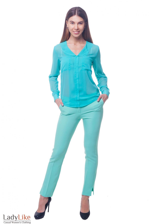 Купить брюки бирюзовые с кокеткой сзади  Деловая женская одежда