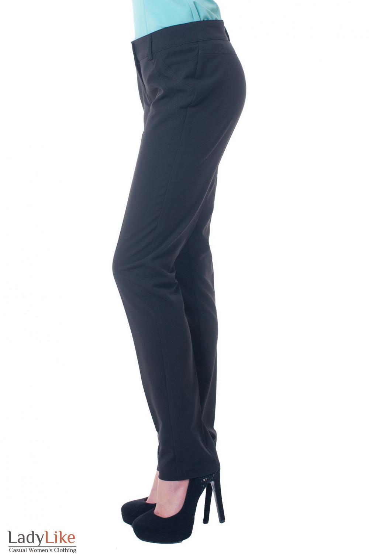 Купить черные брюки без карманов Деловая женская одежда фото