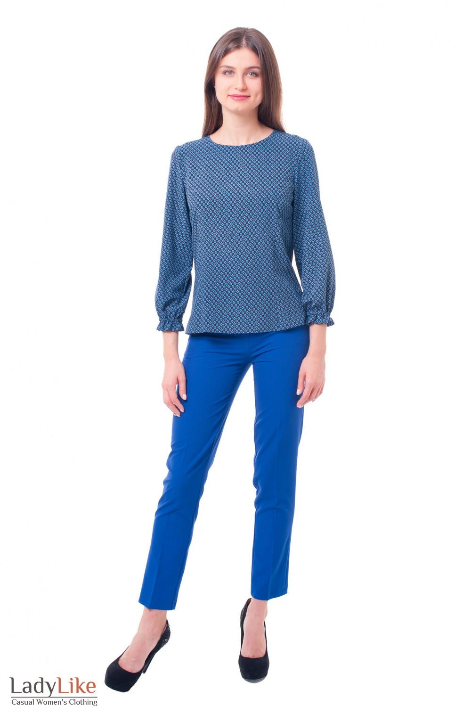 Брюки ярко-синие с застежкой сбоку Деловая женская одежда фото