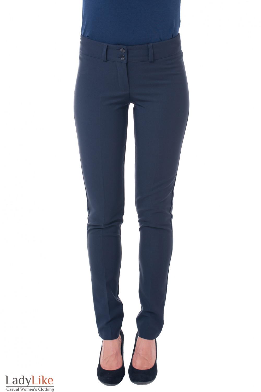 Брюки синие на флисе без карманов Деловая женская одежда фото