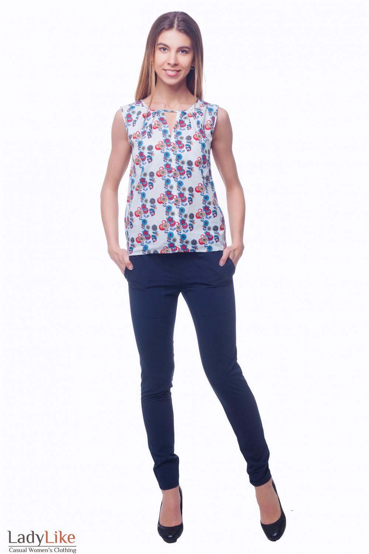 Купить синие брюки на резинке Деловая женская одежда