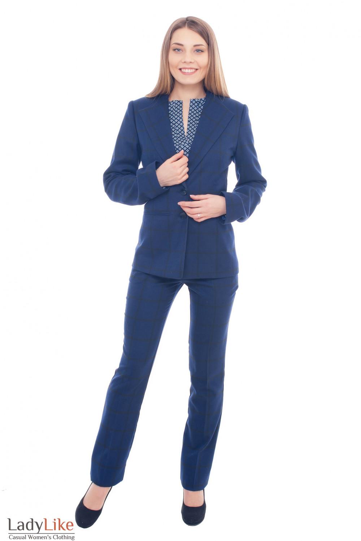 Купить брючный клетчатый костюм Деловая женская одежда фото