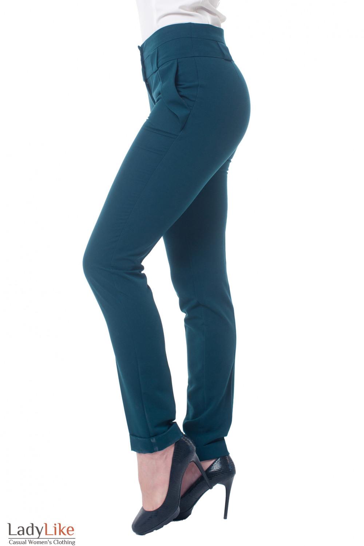 Купить брюки темно-зеленые с двойным поясом Деловая женская одежда фото