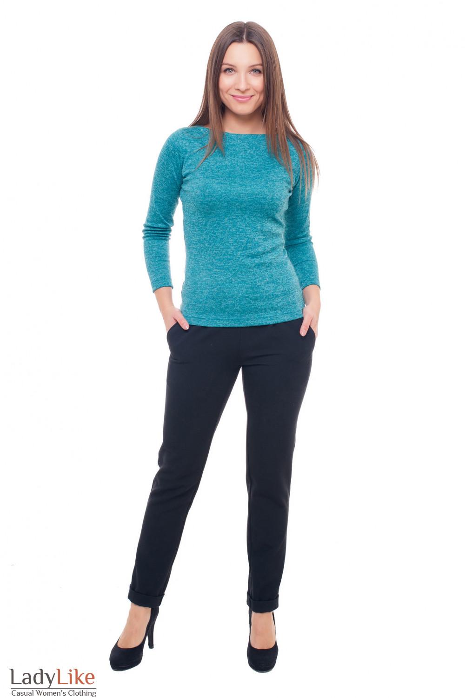 Купить теплые черные брюки на резинке Деловая женская одежда фото