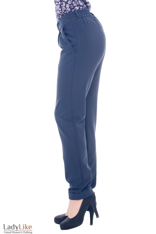 Купить брюки теплые синие на резинке Деловая женская одежда фото