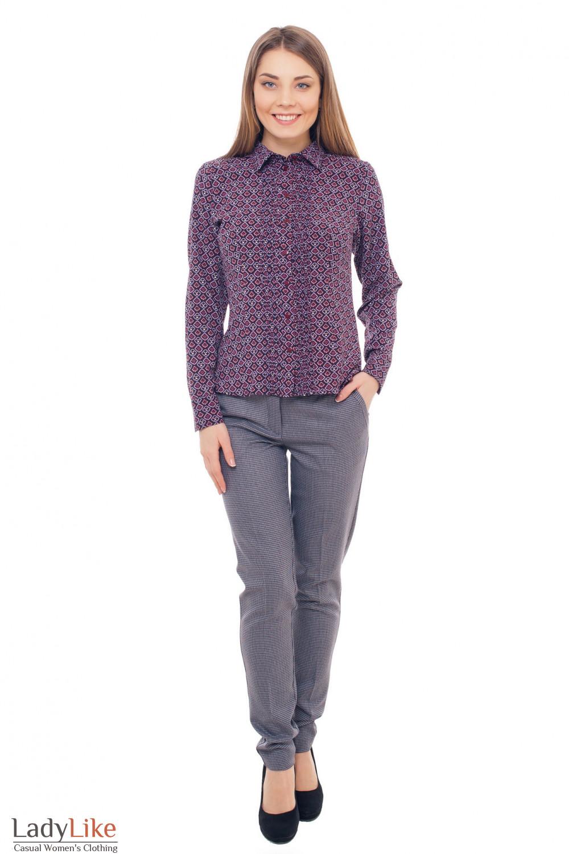 Купить брюки теплые в бордовую лапку Деловая женская одежда фото