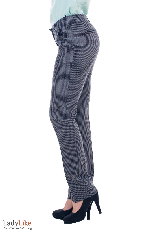Купить теплые брюки  в серо-синюю клетку Деловая женская одежда фото
