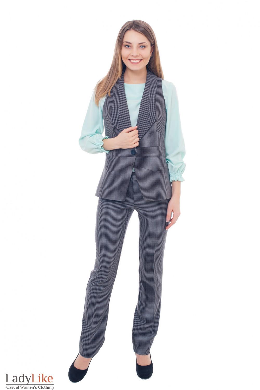 Купить женский теплый костюм в клетку Деловая женская одежда фото