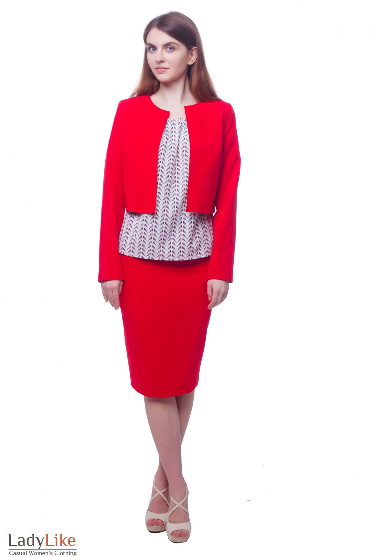 Купить кардиган короткий красный Деловая женская одежда фото