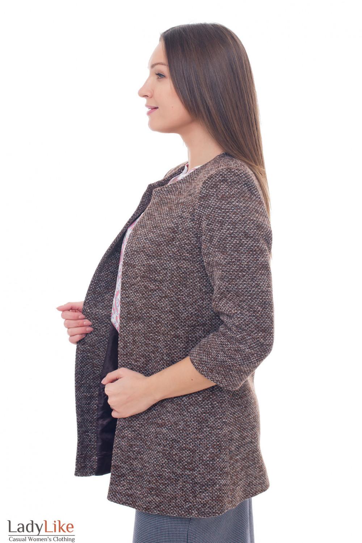 Купить теплый коричневый кардиган Деловая женская одежда фото