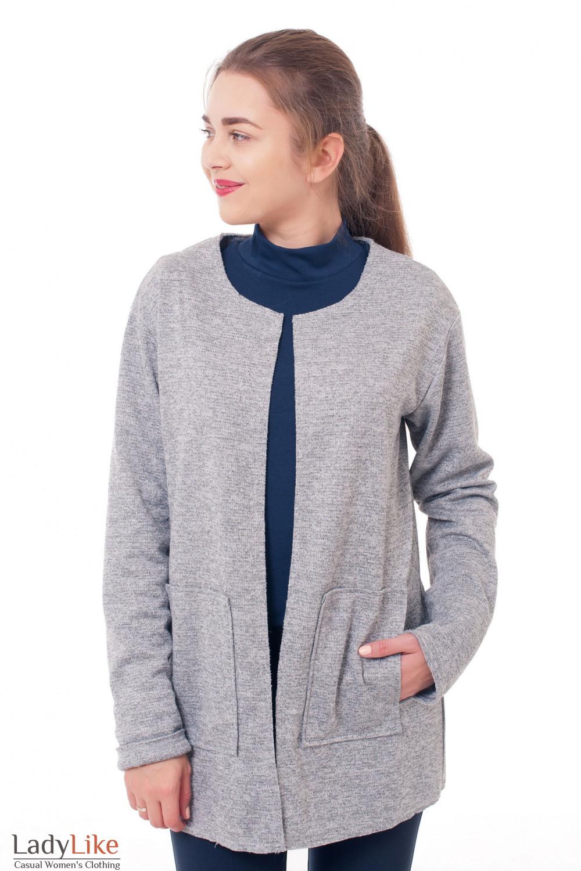 Кардиган трикотажный серый Деловая женская одежда фото