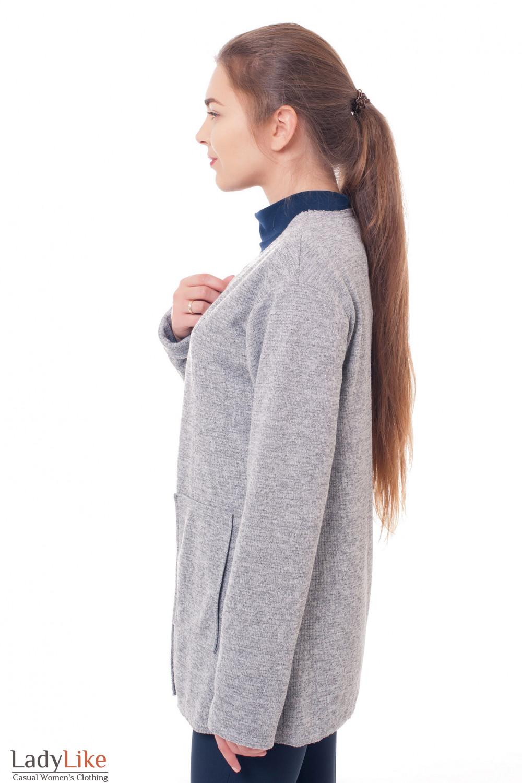 Купить кардиган трикотажный серый Деловая женская одежда фото