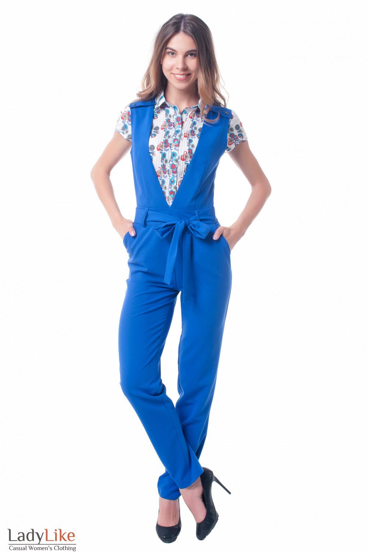Комбинезон синий с поясом Деловая женская одежда фото