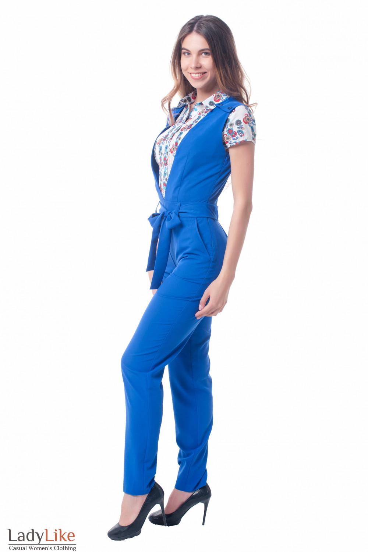 Купить комбинезон синий с поясом Деловая женская одежда фото