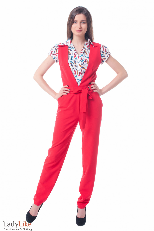 Красный комбинезон Деловая женская одежда фото