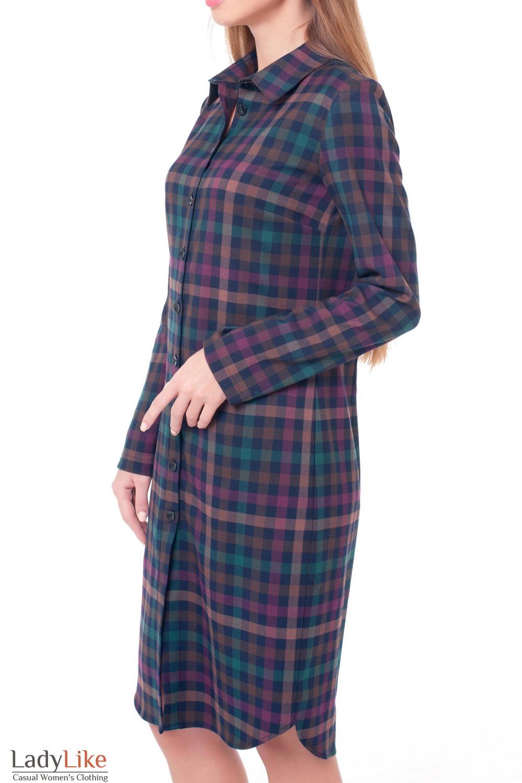Купить платье-сафари в сиреневую клетку Деловая женская одежда фото