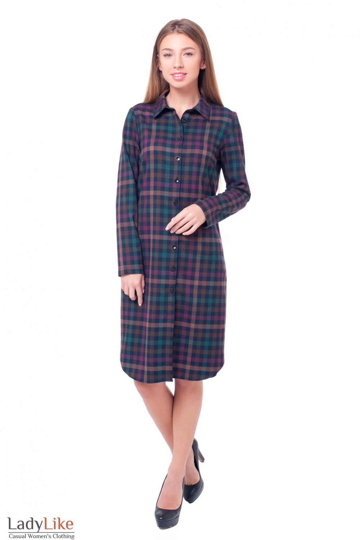 Купить теплое платье-сафари в сиреневую клетку Деловая женская одежда фото