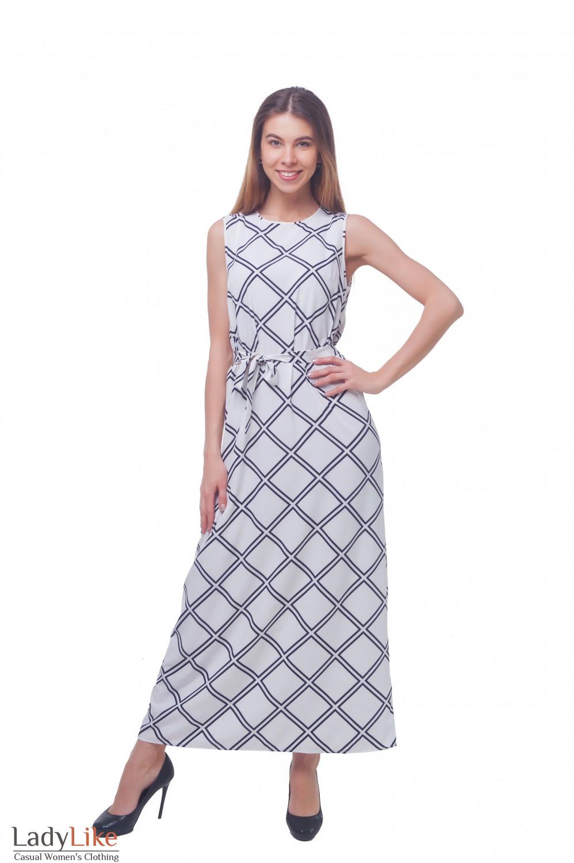 Платье белое в синюю клетку Деловая женская одежда фото