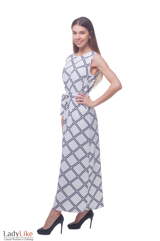 Купить белое длинное платье в пол Деловая женская одежда фото