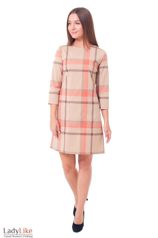 Купить бежевое платье в крупную клетку Деловая женская одежда фото