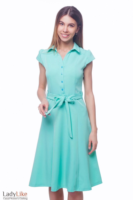 Платье бирюзовое с пуговицами впереди Деловая женская одежда
