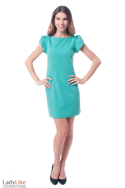 Купить платье бирюзовое с коротким рукавом Деловая женская одежда фото