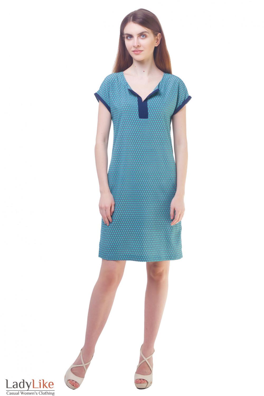 Купить бирюзовое платье в мелкий цветочек Деловая женская одежда