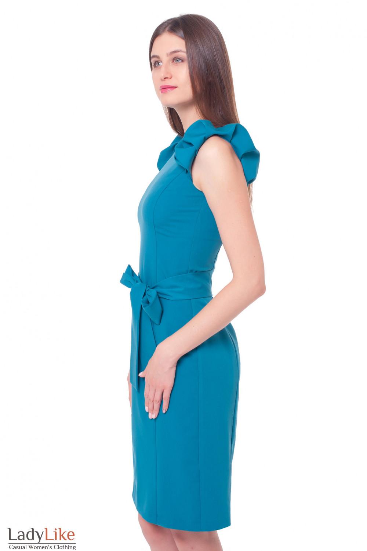 Купить бирюзовое платье с воланами Деловая женская одежда фото
