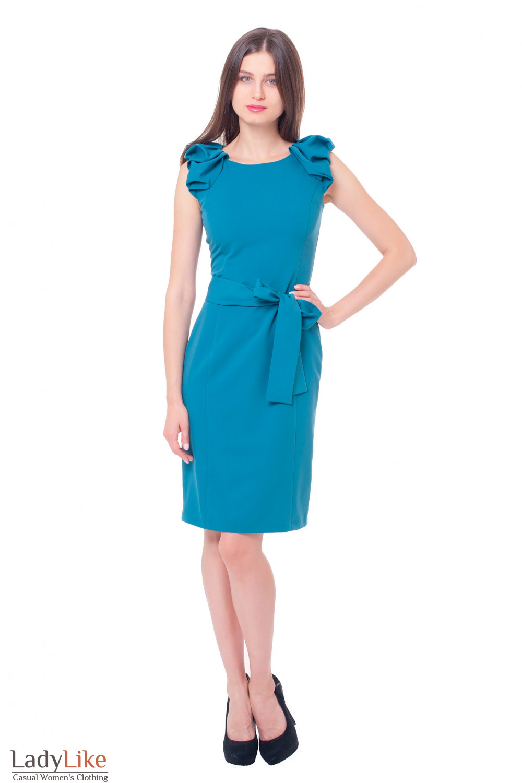 Купить платье бирюзовое с воланами на рукавах Деловая женская одежда фото