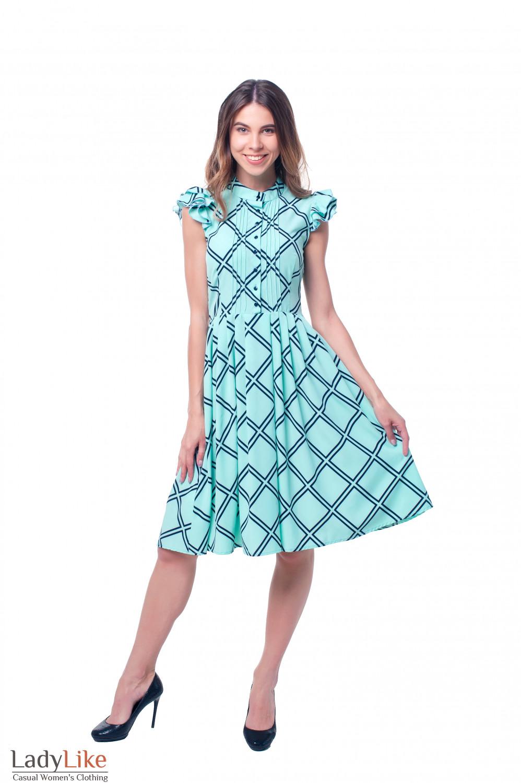Купить летнее бирюзовое платье Деловая женская одежда фото