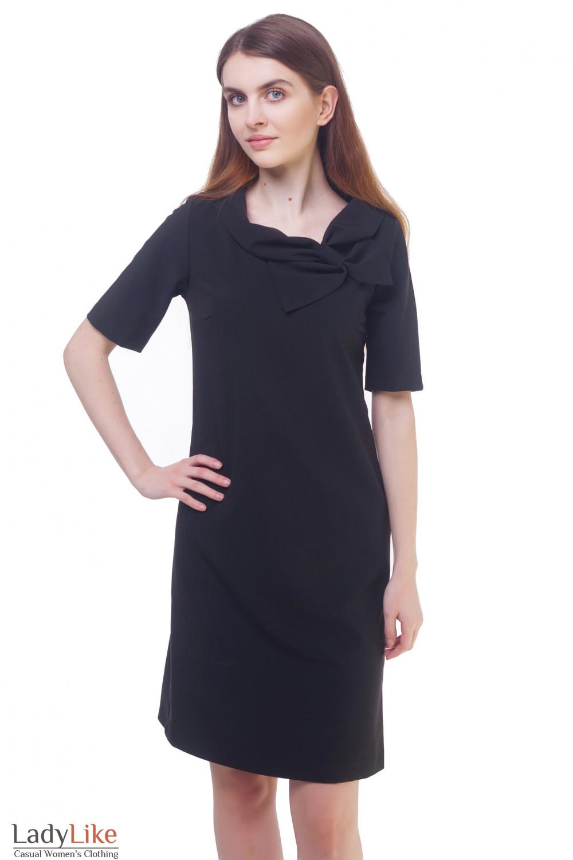 Платье черное с бантом на воротнике Деловая женская одежда