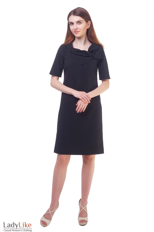 Купить платье черное с бантом на воротнике Деловая женская одежда