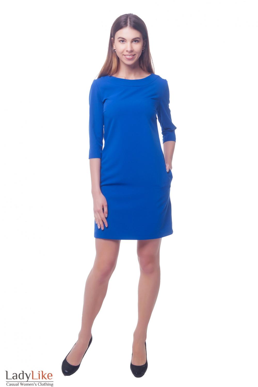 Купить ярко-синее платье с карманами сбоку Деловая женская одежда фото