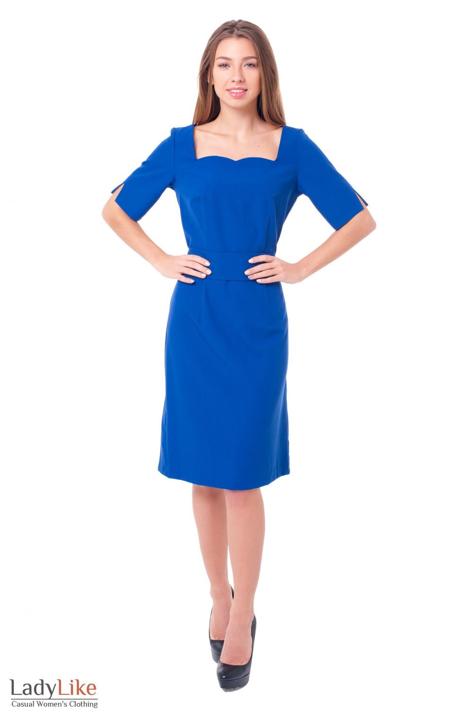 Купить синее платье с квадратным вырезом Деловая женская одежда фото