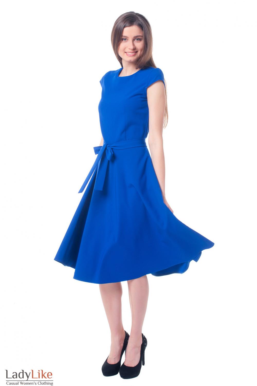 Купить яркое синее платье с пышной юбкой Деловая женская одежда фото