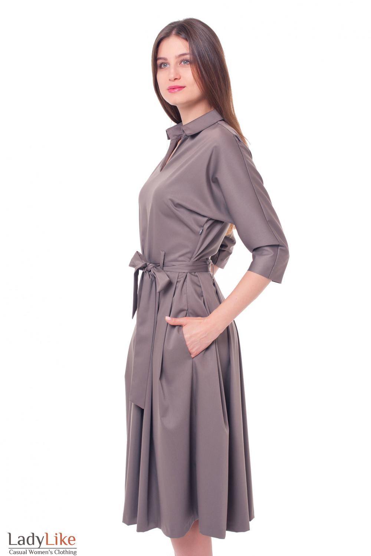 Купить платье хаки с пышной юбкой Деловая женская одежда фото