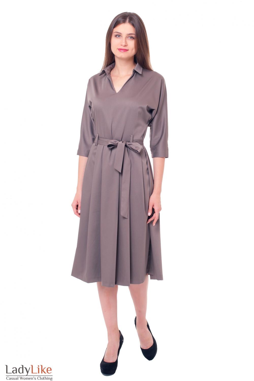 Купить платье цвета хаки Деловая женская одежда фото