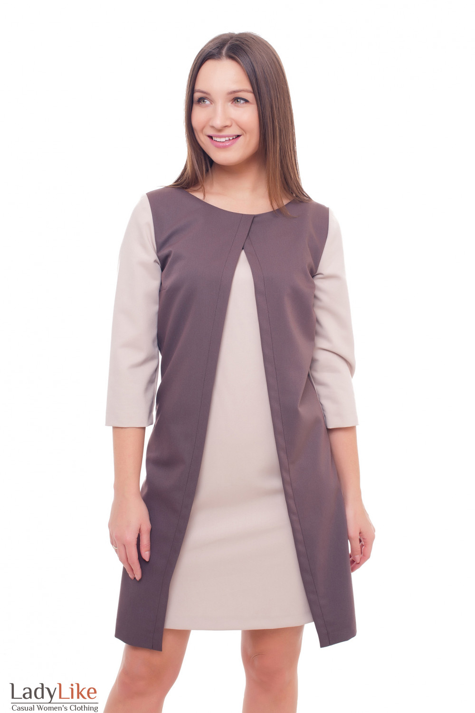 Платье коричневое с бежевыми рукавами Деловая женская одежда фото