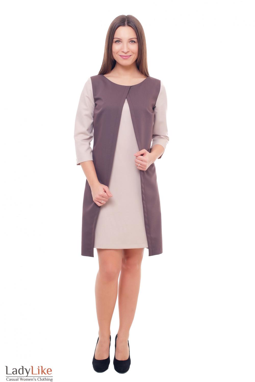 Купить коричневое платье с бежевыми рукавами Деловая женская одежда фото