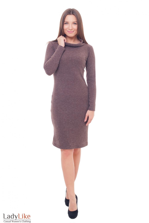 Купить теплое платье коричневое с хомутом Деловая женская одежда фото