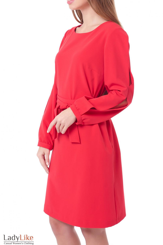 Купить платье красное с разрезами на рукавах Деловая женская одежда фото