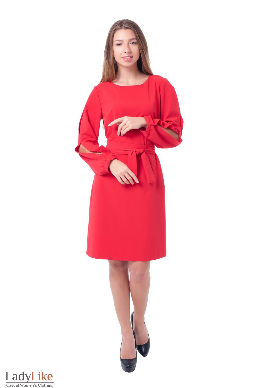 Купить платье с разрезами на рукавах Деловая женская одежда фото