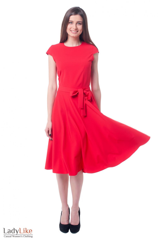 Купить платье ярко-красное с юбкой-клеш Деловая женская одежда фото