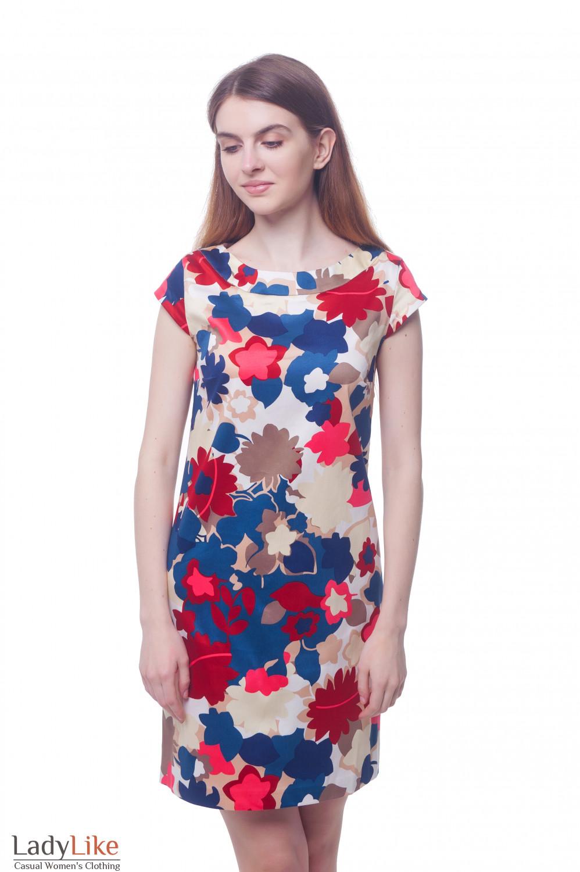 Платье летнее в крупные синие цветы Деловая женская одежда фото